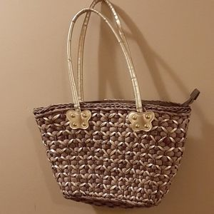 4/$20 Gold and Brown Wicker Bag